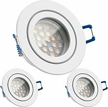3er IP44 LED Einbaustrahler Set Weiß mit LED