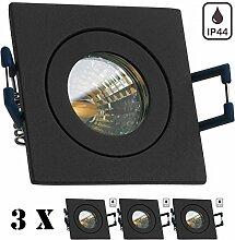 3er IP44 LED Mini Einbaustrahler Set in Anthrazit