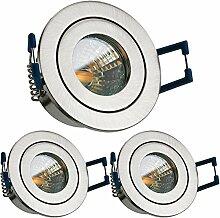 3er IP44 LED Mini Einbaustrahler Set in Silber