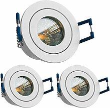 3er IP44 LED Mini Einbaustrahler Set in Weiß matt