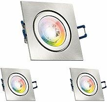 3er IP44 RGB LED Einbaustrahler Set GU10 in
