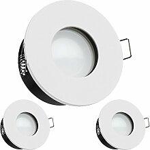 3er IP65 LED Einbaustrahler Set Weiß mit LED GU10