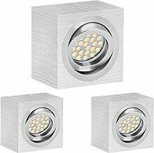 3er LED Aufbaustrahler Set EXTRA FLACH (50mm) in