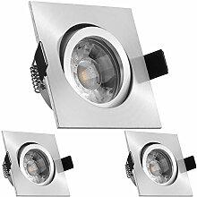 3er LED Einbaustrahler Set Aluminium matt mit COB