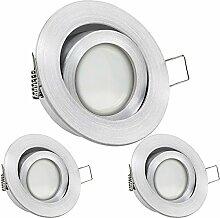 3er LED Einbaustrahler Set Aluminium natur mit LED
