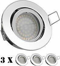 3er LED Einbaustrahler Set Chrom mit LED GU10