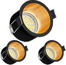 3er LED Einbaustrahler Set Design in Schwarz/Gold