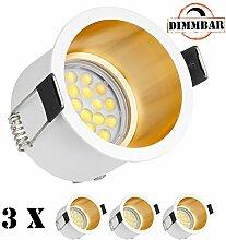 3er LED Einbaustrahler Set Design in Weiß/Gold