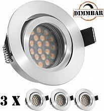 3er LED Einbaustrahler Set EXTRA FLACH (35mm) in