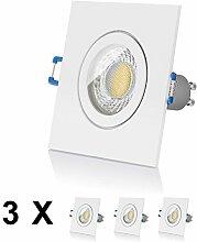 3er LED Einbaustrahler Set IP44 von LEDOX - dimmbar inkl. Einbaurahmen | 230V 7W Deckenleuchten Spot Badezimmer Feuchtraum I Deckenstrahler Einbauleuchten LED Strahler Deckenspots Downlight | LED Leuchtmittel GU10 (3000K 3er Set)