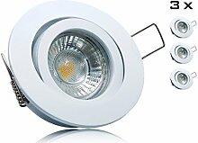 3er LED Einbaustrahler Set mit Marken GU10 LED