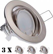 3er LED Einbaustrahler Set Silber gebürstet mit
