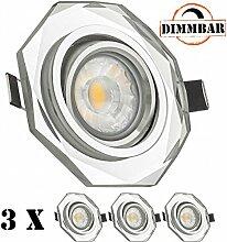 3er LED Einbaustrahler Set Weiß Kristall / Glas