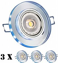 3er LED Einbaustrahler Set Weiß Kristall/Glas mit