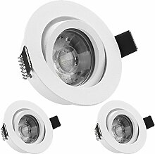 3er LED Einbaustrahler Set Weiß matt mit COB LED