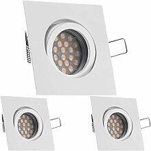 3er LED Einbaustrahler Set Weiß / Weiss mit LED