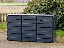 3er Mülltonnenbox / Mülltonnenverkleidung 240 L