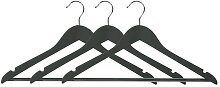3er Pack Kleiderbügel mit Hosensteg schwarz B. 44,5cm Lotusholz natur Kesper (8,50 EUR / Stück)