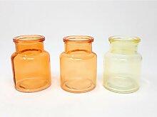 3er Pack mini Flaschenvasen BOTTLE in Box gelb H.