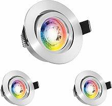 3er RGB LED Einbaustrahler Set GU10 in aluminium