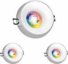 3er RGB LED Einbaustrahler Set GU10 in chrom mit