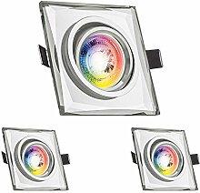 3er RGB LED Einbaustrahler Set GU10 in
