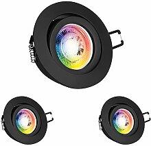 3er RGB LED Einbaustrahler Set GU10 in schwarz