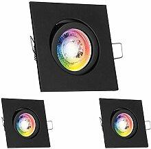 3er RGB LED Einbaustrahler Set GU10 in schwarz mit