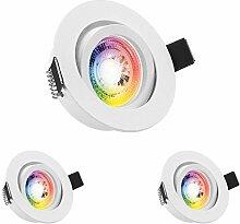3er RGB LED Einbaustrahler Set GU10 in weiß matt