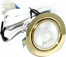 3er Set 12V Halogen Möbel Schrank Möbelleuchte ohne Trasformator Farbe: Gold IP20 mit G4 20 Watt Stiftsockelbirne Dimmbar