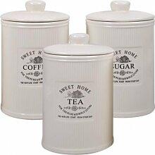 3er Set Aufbewahrungsdose Keramik Dose Zucker Kaffee Tee Sugar Coffee Tea