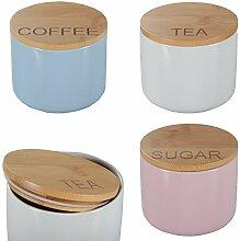 3er-Set Aufbewahrungsdose Porzellan Bambusdeckel Bunt Keramik Dose Vorratsdose Coffee (Blau) - Tea (Weiß) - Sugar (Rosa)