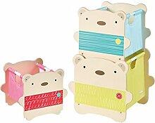 3er Set Bär Spielzeugkiste stapelbar Regal Kinderzimmer Kindermöbel Holz Aufbewahrung Box Kiste
