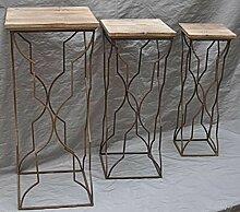 3er Set Blumenhocker Metall/Holz, Landhaus Höhe 80, 71, 65 cm