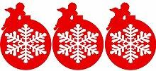 3er-Set Christbaumkugeln 25 cm Farbe Red Christmas Schneeflocken Aufkleber, Sticker Christbaumkugeln , Weihnachten Aufkleber, Yule , Fenster Aufkleber, Wandaufkleber, Vinyl -Aufkleber Schneeflocke , Engel ThatVinylPlace