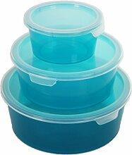 3er Set Curver Deco Chef Vorratsdose Frischhaltedose Aufbewahrung 0,5/1,2,2,0L BPA-Frei -30 - 100°C (Blau)