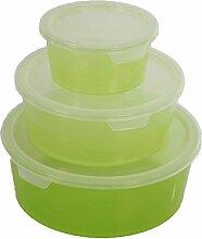 3er Set Curver Deco Chef Vorratsdose Frischhaltedose Aufbewahrung 0,5/1,2,2,0L BPA-Frei -30 - 100°C (Grün)