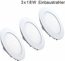 3er Set Deckenstrahler LED Einbauleuchte flach