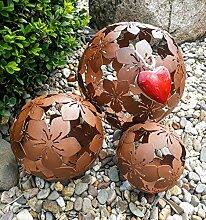 3er Set Dekokugeln Gartenkugeln Blume Metall