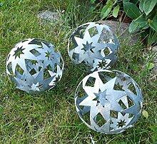 3er Set Dekokugeln Gartenkugeln Stern Sterne