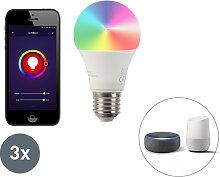 3er Set E27 dimmbare LED Lampe Wifi Smart mit App