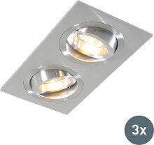 3er Set Einbaustrahler Aluminium kippbar - Lock 2