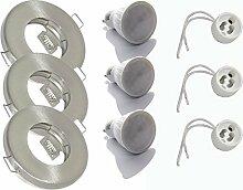 3er Set Einbaustrahler IP65 Optik: Edelstahl