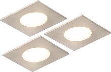 3er Set Einbaustrahler quadratisch Stahl inkl. LED