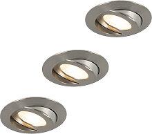 3er Set Einbaustrahler Stahl inkl. LED IP44 -