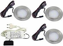 3er Set flache LED Einbauleuchte Möbelleuchte