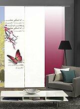 3er-Set Flächenvorhang | Deko blickdicht | ALESSIA | Höhe 245 cm | 1x Dessin fuchsia / 1x uni weiß blickdicht / 1x Farbverlauf fuchsia