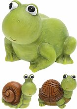 3er Set Gartendeko Tiere Keramik Frosch Schnecke Schildkröte ca 14 x 11 x 13 cm