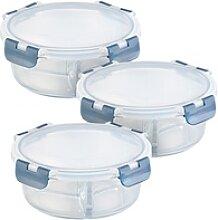 3er-Set Glas-Frischhaltedosen, 3 Kammern,