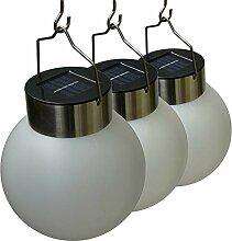 3er Set hängende Lampe Kugel Solarleuchte für